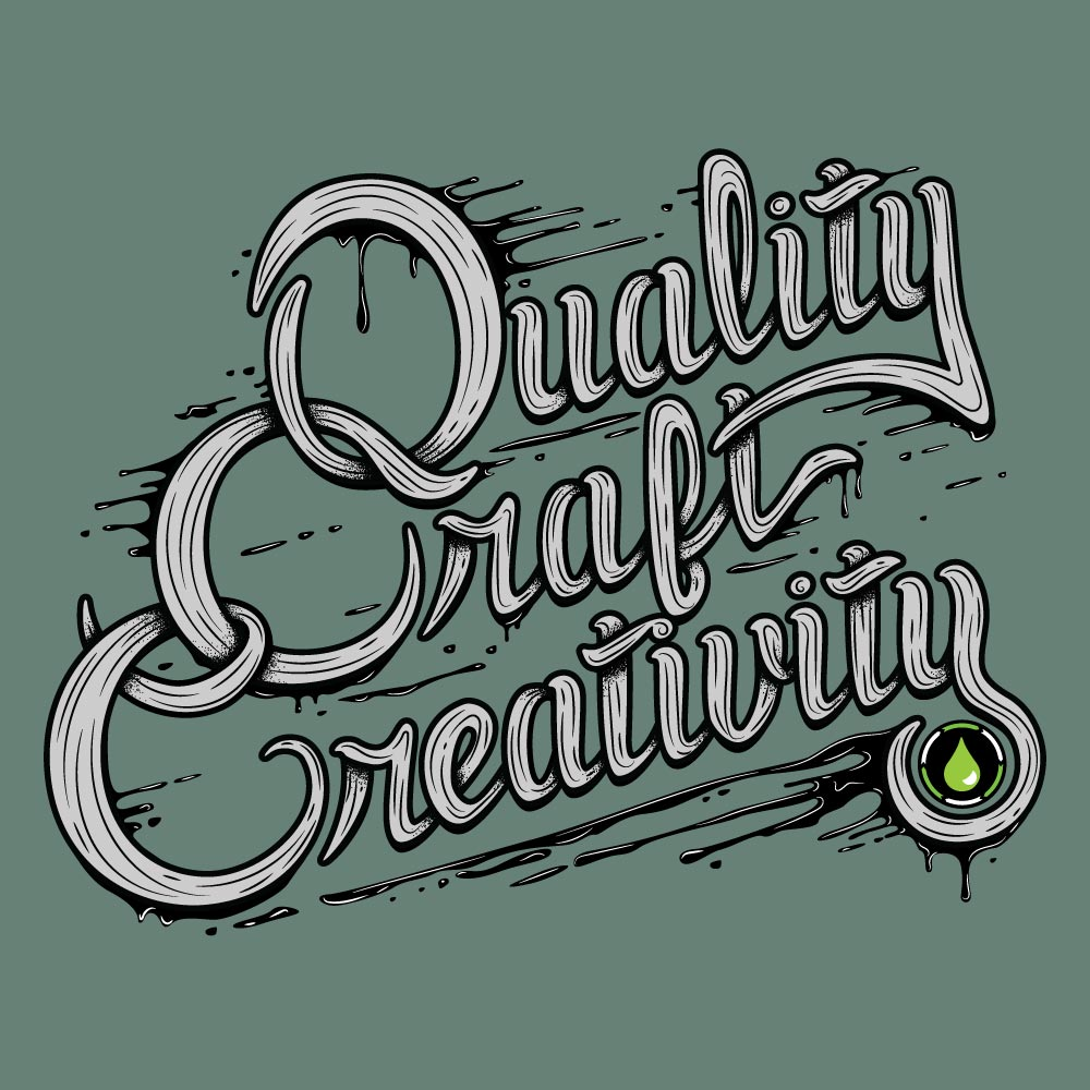 Quality, Craft, Creativity hand-drawn lettering design